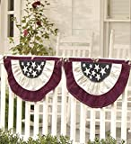 """Plow & Hearth Small Americana Bunting with Embroidered Stars - Durable 100% Cotton Duck Fabric - Red, Blue and Ecru - 30""""W x 17""""H"""