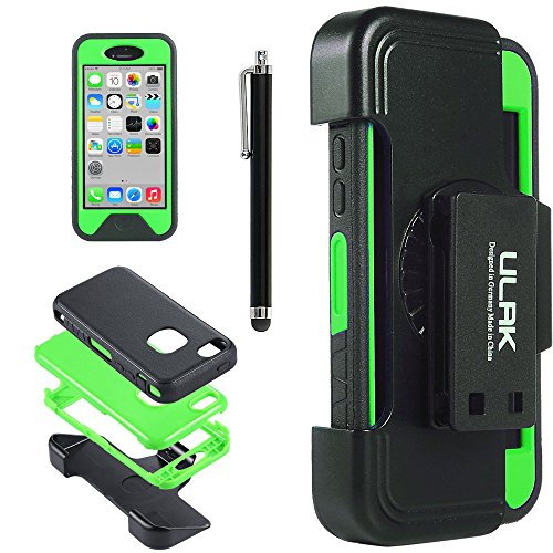 Iphone 5C Case, Ulak Heavy Duty High Impact Case Cover For Apple Iphone 5C Shockproof Dirtproof Hard Inner Case + Tpr Defender + Belt Clip Holster + Stylus + Screen Protector (Tpr-Green)