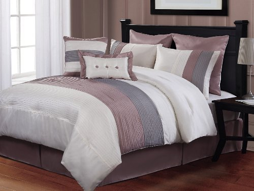 Find Cheap Price 8 pc modern pink grey white bed in a