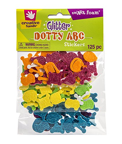 Creative Hands by Fibre-Craft 125-Pack Foam Glitter Stickers, Dotty ABC