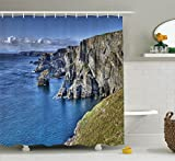 Ambesonne Room Decorations Collection, Atlantic Coast Cliffs at Mizen Head County Cork Ireland Ocean Coastal Scenery Image, Polyester Fabric Bathroom Shower Curtain, 84 Inches Extra Long, Blue Grey