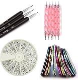 Claire's Nail Kit includes 30 Striping tape & 12 Silver Rhinestones & Dotting Pen set & Brush Set (Full Set)