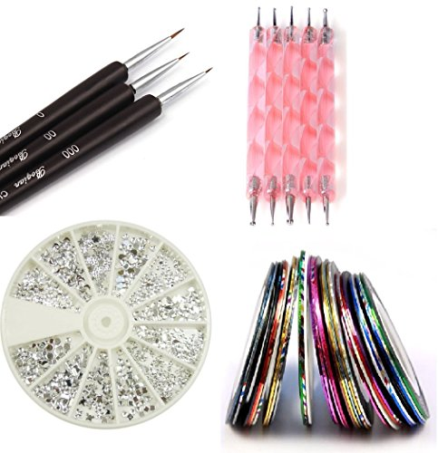 Claire s Nail Kit includes 30 Striping tape & 12 Silver Rhinestones & Dotting Pen set & Brush Set (Full Set)