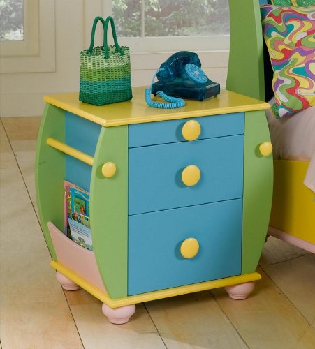 Cheap Kids Nightstand with Rack and Rod Storage in Multicolored Finish (AZ00-46865×20148)