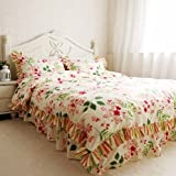 Shabby and Elegant Sakura Ruffle/Falbala Pure Cotton Duvet Cover Bedding Set,Queen Size