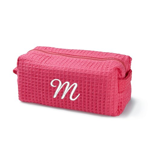 Embroidered Pink Make-Up Bag, White, Initial, M front-978612