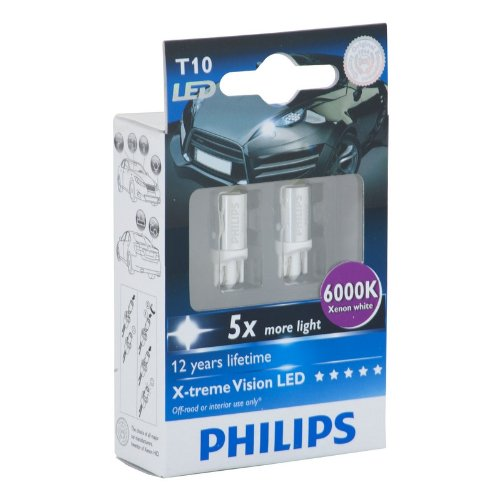 philips t10 x treme vision led 6000k 2 pack. Black Bedroom Furniture Sets. Home Design Ideas