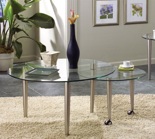 Buy Low Price Round Coffee Table In Silverleaf With Light