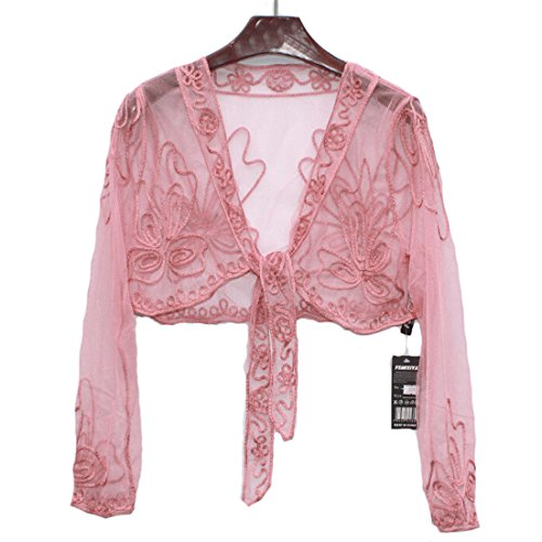 HH HOFNEN Lace Sheer Bolero Shrug Dress Jacket Many Color (pink-4