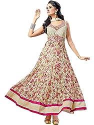 Isha Enterprise Women's Brasso, Net Anarkali Suits(KFS470-206_Off White)