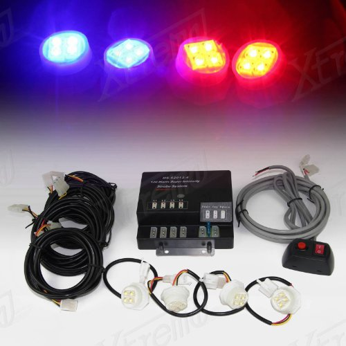 Xtreme® 120W 4 Led Bulbs Hide-A-Way Emergency Hazard Warning Strobe Lights - Red & Blue