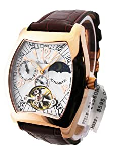 Mens Lucien Piccard Leather Automatic 3 Eye Date Watch 26560RO