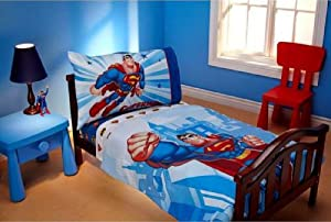 Superman 4 in 1 Junior Bed Set, padded Quilt Cover with matching 3pc Sheet Set