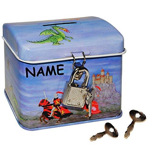 Ritter - Sparschwein / Spardose / Sparbüchse - incl. Namen - aus Metall - mit Schlüssel und Schloß - stabile Kinder - Jungen - Ritterburg Pferde / Schatztruhe Truhe Box