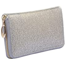 MG Collection RILEY Modern Stylish Silver Glitter Candy Fashion Wallet