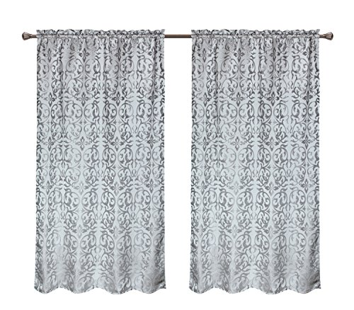CaliTime Window Curtain Panel 56 X 84 Inches 1 PC, Vintage Damask Floral, Grey (One Direction Bedroom Curtains compare prices)