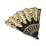 Black Spanish Flamengo Brise Style Flower Folding Hand Fan for Dance Party Wedding