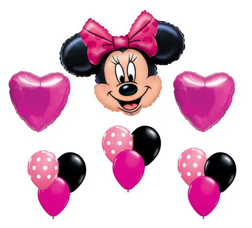 Minnie Mouse Pink Polka Dot Heart Mylar Latex Birthday Balloon Set