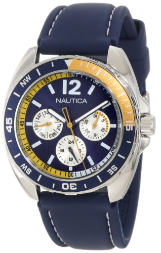 Nautica Men's N09915G Sport Ring Multifunction Blue and Yellow Box Set Watch