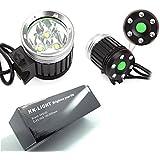 KKGUD Lampe avant Phare avant pour vélo / VTT / Enduro éclairage avant 3 X 12 watts (3 × CREE XM-L T6 LEDs) 3600 Lumens rechargeable étanche antichoc de 3 mode de lumière + Batterie 4* 18650 Batteries Inclus + Chargeur