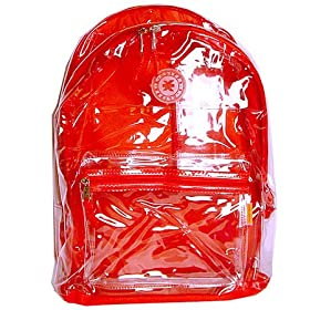 K-Cliffs Clear PVC School Backpack/ Outdoor Backpack with Red Back Panel