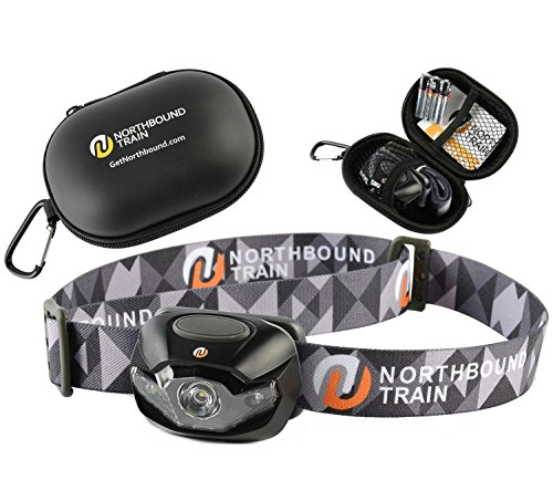 Ultra-Bright LED Headlamp Flashlight Plus Hard Case for Running, Camping, Hiking. White-Red-Strobe Lights with Dimmer, only 3.2oz, Waterproof IPX 4 with 3 Energizer AAA Batteries (Head Mounted Led Flashlight compare prices)