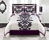Royal Purple White Black Damask Comforter Sham and Bedskirt Set