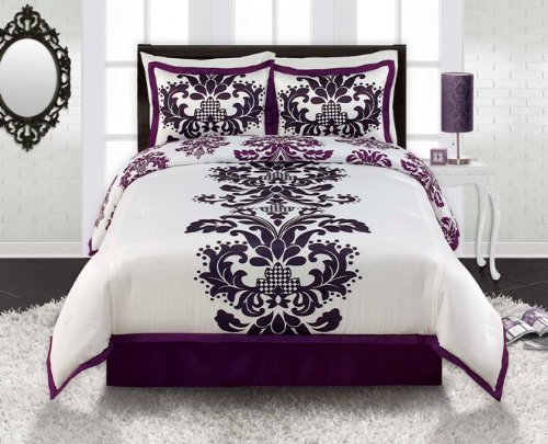 Cheap royal purple white black damask comforter sham and - Black and purple bedding sets ...