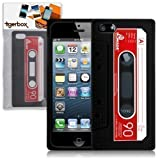 Tigerbox Flexible Silicone Retro Cassette Tape Style Skin Cover Case for Apple iPhone 5 With Screen Protector (Black)