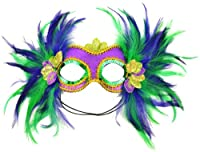 Mask It 48035 Mardi Gras Satin and Feather Half Mask, Purple by Midwest Design Imports, Inc.