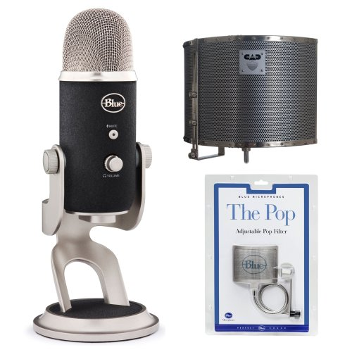 Blue Microphones Yeti Pro Usb Condenser Microphone With Acoustic-Shield Stand Mounted Enclosure And Blue Microphones The Pop Universal Pop Filter