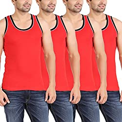 Zippy Men's Pipeing-Plus Sleeveless Red Vest (Pack of 4)