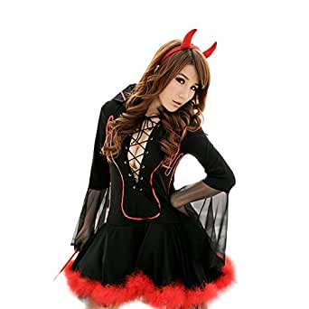 Lisli® 3pcs Women's Cosplay Halloween Masquerade Demon Devil Costumes Sexy Wild Clothes