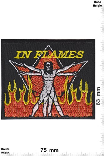 Patch - In Flames - Man - Melodic-Death-Metal-Band - Musicpatch - Rock - Vest - Iron on Patch - toppa - applicazione - Ricamato termo-adesivo - Give Away