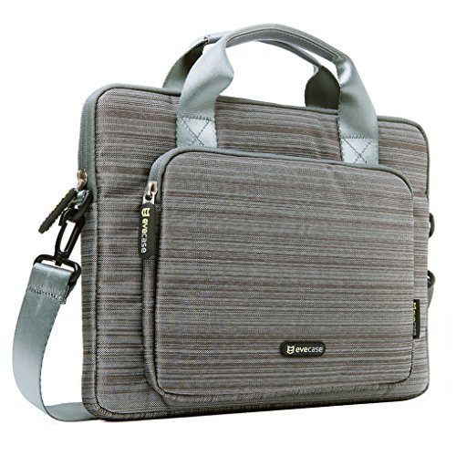 Evecase 13'' 13.3-Inch Notebook Chromebook Laptop Ultrabook Suit Fabric Briefcase Messenger Bag Travel Carrying Case with Handles and Strap - Gray (Hp Split Detachable compare prices)