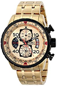 """Invicta Men's 17205 """"AVIATOR"""" 18k Gold Ion-Plated Watch"""