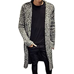 Stunner Men\'s Spring Slim With Hood Sweater Casual Long Cardigan CN L Grey