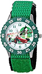 Disney Kids Cars Francesco Bernoulli Stainless Steel Time Teacher Watch, W001587, Green Nylon Band