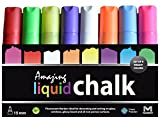 15mm Amazing Liquid Chalk Marker - 8 Pack - 3-In-1 Tip For Biggest & Boldest Lines - Attract More Customers! - Damage-Free Menu Board Marker - Bright & Bold Chalk-Style Lines - Multiple Sided Tip For Small AND Large Lines, Non-Toxic, Doesnt Smear, Wipes Off Easily