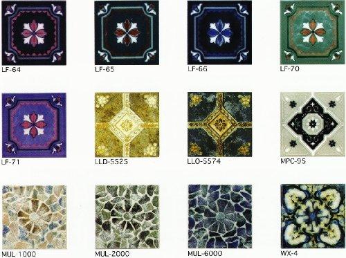 150角 デザインタイル 花 イスラム風(昭和レトロ)な磁器絵タイルです。インテリア 壁、床(キッチン カウンター・テーブル・浴室)のDIYリフォームにお勧めです。モザイクタイル・コースター、鍋敷き等、アンティーク・インテリア雑貨としてもOK