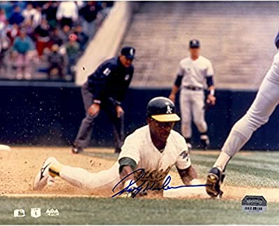 Rickey Henderson Oakland Athletics Autographed 8'' x 10'' Sliding Into 3rd Base Photograph - Fanatics Authentic Certified