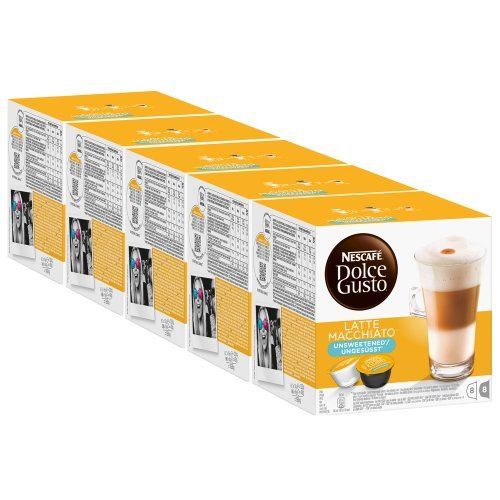 Nescafé Dolce Gusto Latte Macchiato Unsweetened, Pack Of 5, 5 X 16 Capsules (40 Servings) front-78295