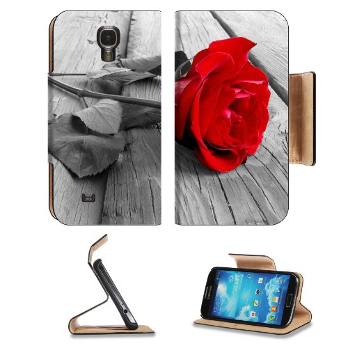 Red Rose Front And Center Samsung Galaxy S4 Flip Cover Case With Card Holder Customized Made To Order Support Ready Premium Deluxe Pu Leather 5 1/2 Inch (140Mm) X 3 1/4 Inch (80Mm) X 9/16 Inch (14Mm) Msd S Iv S 4 Professional Cases Accessories Open Camera