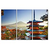 3 Pieces Modern Canvas Painting Wall Art The Picture For Home Decoration Mt. Fuji With Chureito Pagoda In Autumn Fujiyoshida Japan Landscape Mountain Print On Canvas Giclee Artwork For Wall Decor
