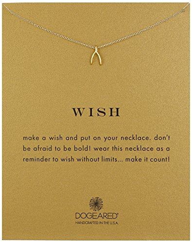 "Dogeared ""Reminder\"" Wishbone Gold Chain Necklace, 16\"""