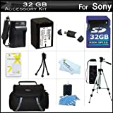 32GB Accessory Kit For Sony HDR-CX200, HDR-CX260V High Definition Handycam Camcorder Includes 32GB High Speed SD Memory Card plus Replacement (2300Mah) NP-FV70 Battery plus Ac / DC Charger plus Deluxe Case plus Tripod plus Mini HDMI Cable plus USB 2.0 SD Reader and More