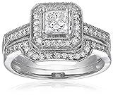 14K White Gold Princess-Cut Center Diamond Bridal Set (1 cttw), Size 7