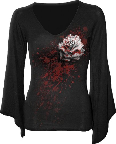 Spiral - Top - rosa bianca - Manica V Collo Goth Donna Nero Black Small