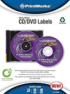 Printworks White Matte Inkjet and Laser CD/DVD Labels, 100% Recycled, 10 Sheets, 20 Face Labels/Box, 40 Spine Labels/Box, (00678)