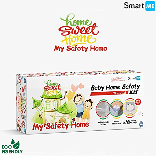 SmartMe Baby Home Safety Kit - 22pcs Pack - Adjustable Baby Safety Locks,Corner Protectors & Outlet Plugs-Child Proofing Cabinets Fridge & More,Electrical & Sharp Corners Safety,Reusable & Removable